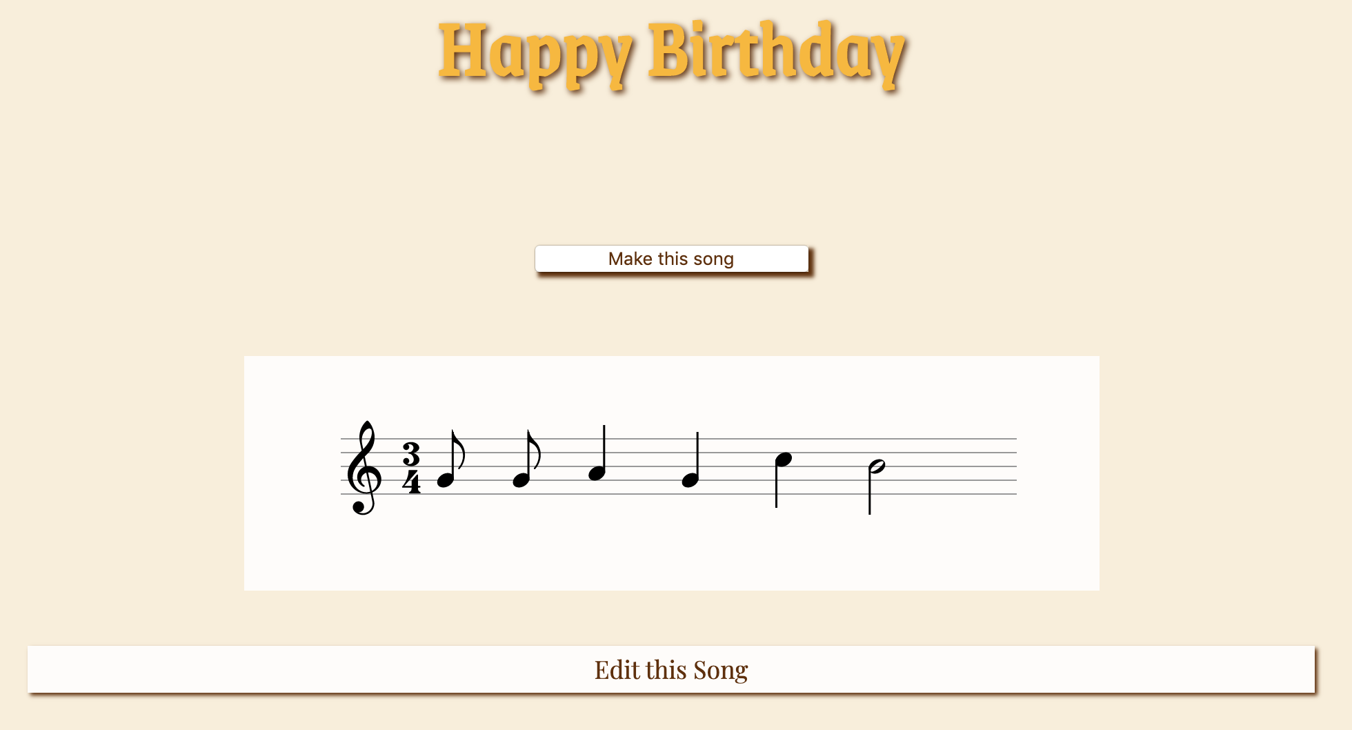 screenshot of 'happy birthday' rendered on the staff