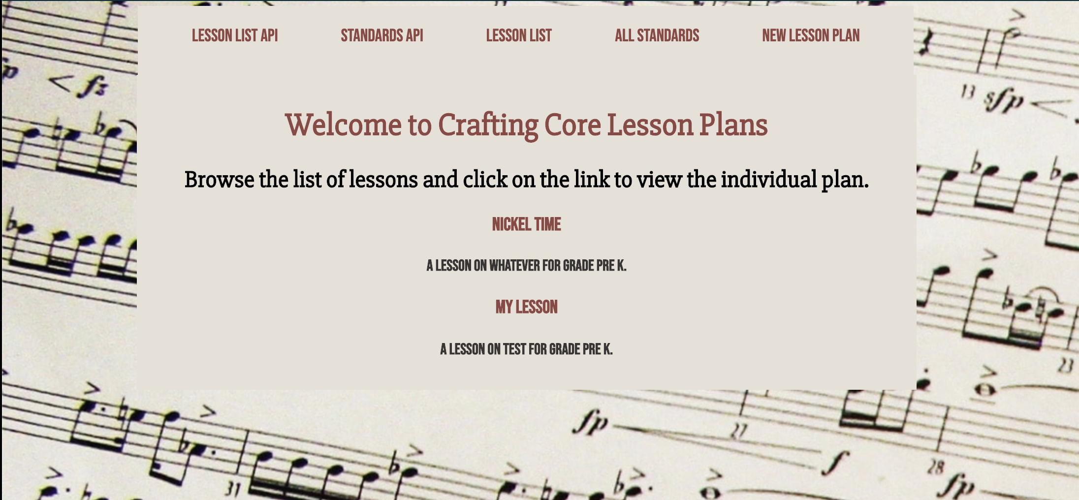 screenshot of mock lesson plans